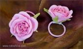Резинки для волос - розовые розы