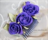 Гребень с синими розами